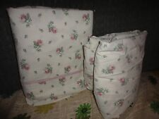 LAURA ASHLEY ROSEMOOR GREEN PINK CREAM FLORAL (2PC) FULL SHEET SET COUNTRY
