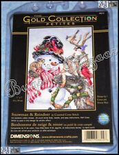 USA Dimensions Gold SNOWMAN & REINDEER Christmas Counted Cross Stitch Kit D Race
