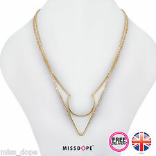 NEW Geometric V Layered Moon Gold Pendant Necklace Chain Chic Ladies Womens UK