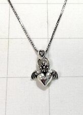 "925 Sterling Silver Angel Heart Wing Crown Claddagh Pendant 20"" Necklace Solid"