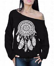 Dream Catcher White Off The Shoulder Oversized Slouchy Sweater Sweatshirt