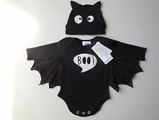 BABY BOY GIRL BLACK BAT ROMPER + HAT COSTUME PARTY DRESS UP SIZE 00 FITS 3-6M