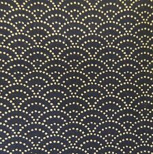 Japanese Cotton Fabric Seigaiha Dark Navy Per 50cm Half Metre TG72