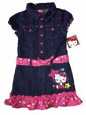 NEW~ HELLO KITTY Girl's Size 5 Denim Blue Pink Button Up Jean Dress
