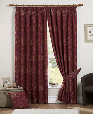 "HEAVY CLARET TAPESTRY CHENILLE DORMA WINDOW CURTAINS 90""x54"" drop~229x137cm"