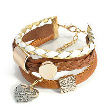 Hot Fashion Women Jewelry Infinity Charm Leather Cuff Wrap Bangle Bracelet Gift
