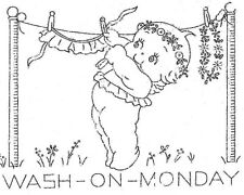 Vintage Embroidery Transfer repo 342 Kewpies for Days of the Week Dish Towels