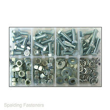 "200 Assorted 3/8"" UNF Zinc Plated Set Screw Fully Threaded Bolts, Nuts & Washers"