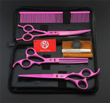 """3pcs 7"""" Dog Grooming Scissors Straight&Curved&Thinning Shears &Comb Bag Set Pink"""