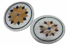"""12"""" Lot of 2 Set Marble Side Coffee Table Top Inlay Floral Christmas Decor H914"""
