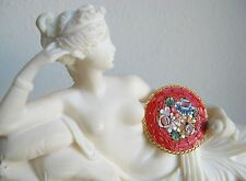 Micro Mosaic Vintage Italian Pin Brooch, Multi-Colored Round Red Gold-Tone