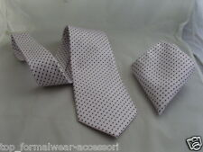 "(02) SILK-White with Purple Polka Dots-Necktie and Hanky Set-TIES-3.5""=9cm Width"