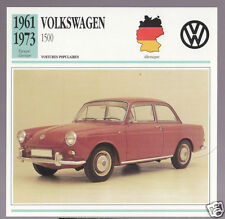 1961-1973 Volkswagen 1500 VW German Car Photo Spec Sheet Info Stat French Card