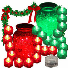 12 RED & 12 GREEN Christmas Lights Holiday Submersible LED Tea Light Decoration
