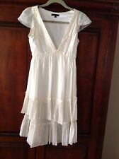 Marc Jacobs Ivory Silk Tiered Ruffle Dress Size M