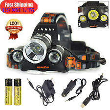 Hunting Boruit 12000LM 3x XM-L T6 LED 18650 Headlamp Headlight Head Torch Light