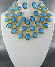 Blue Faceted Oval Lucite Bead Gold Tone Choker Necklace Earring Set