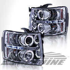 Dual Halo LED Projector Headlight 2007-2014 Chevy Silverado 1500 2500HD 3500HD