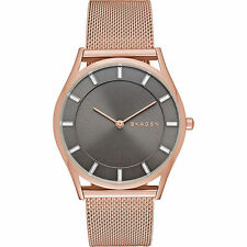 Skagen Holst Grey Dial Rose Gold-tone Mesh Slim Watch SKW2378