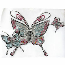 Rhinestone Iron on Transfer Hot fix Motif crystal Fashion Design Pink Butterfly