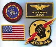 RON SLIDER KERNER TOP GUN MOVIE US NAVY F-14 SQUADRON MOVIE COSTUME PATCH SET