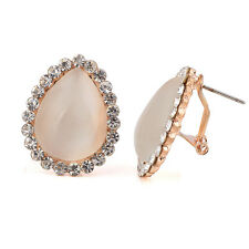 Amazing Opal Imitation with White Rhinestones Shiny Teardrop Stud Earrings E520