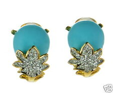 Kenneth Jay Lane Blue Enamel and White Crystal Clip-on Earrings