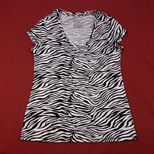 Womens Size XXL Zebra Print Top Animal Print TShirt Black White Tunic Cap Sleeve