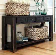 Distressed Sofa Console Table Vintage Weathered Black Rustic Hall Foyer Accent