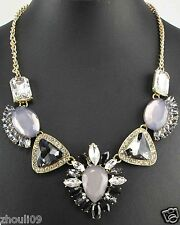 Newest Design huge Lady Statement crystal chunky chain charm necklace 1068