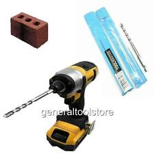 IMPACT DRIVER HEX MASONRY STONE BRICK DRILL BITS 6 + 7 MM WALL PLUGS RED BROWN