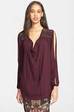 NWT HAUTE HIPPIE SzS EMBELLISHED COLD SHOULDER SILK TUNIC BLOUSE IN FIG $495.