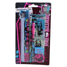 MRSTS Monster High 1 Unidad SET PAPELERÍA Lápiz Bolígrafo Sacapuntas Regla