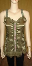 """""""Pretty Angel"""" Olive Green Embell. Silk/Rayon Cami Top~Size L (better for M)~NWT"""
