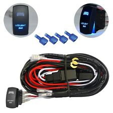 Wiring Harness Blue LED Light Bar Laser Rocker Switch On Off Relay Fuse ATV Jeep