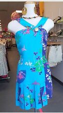 H&M VERSACE DRESS SILK BLUE ORIENTAL FLOWER  ASYMETRIC PLEATS UK 8 EUR 34 US 4