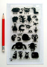 "Clear Stamps Lot (4""x7"") Alien Monsters FLONZ Vintage Rubber Stamps 042"