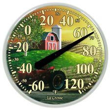 "104-114-FARM La Crosse 13.5"" Indoor/Outdoor Dial Thermometer with Key Hider"