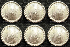 "Set of 6 WESTERN BRIGHT SILVER ROUND ROPE EDGE SADDLE CONCHOS 1"" screw back"