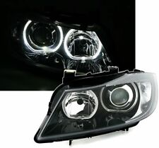 BLACK ANGEL EYE HEADLIGHTS HEADLAMPS WITH WHITE RINGS FOR BMW E90 & E91 3 SERIES
