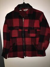 Vintage 50s 60s WOOLRICH Mens Red Black Plaid Wool Hunting Jacket Coat Sz 44 ZIP