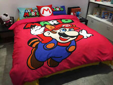 SUPER MARIO Cartoon RED QUEEN SIZE DOUBLE BED SHEET 4 PCS Cotton Bedding SET