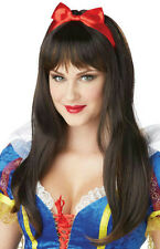 Enchanted Tresses Snow White Long Brown Copper Brunette Costume Wig with Bow