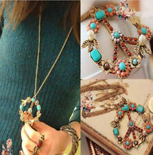 Necklace Sign Pendant Crystal Peace Women Gift Jewelry Long Chain Bronze