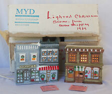 2 Marian Yu Miniature Christmas Snow Village Lighted Building Toy Store House