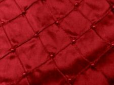 "RED EMBROIDERY PEARL BEADS 100% SILK DUPIONI FABRIC 54"" WIDE 1 YARD"