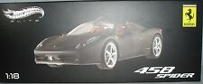 Hot Wheels Elite Ferrari 458 Spider Matt Black 1:18 Diecast Sports Car X5485