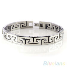 Popular Men's Punk Stainless Steel Chain Wristband Clasp Cuff Bangle Bracelet