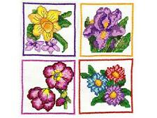 NEW ITA CROSS STITCH FOUR COASTER KIT - Flowers #5