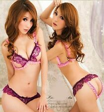 Sexy Purple Baby Doll Bra Pantie Crotchless Cupless Lace Lingerie Fast US Seller